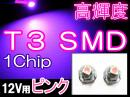 LED★T3/1chip SMD 【ピンク】 超高輝度★2個セット★送料無料★メーター球などに!